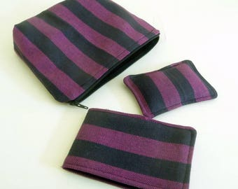 Purple Striped Twill Sewing Set, Pouch, Needle Case, Pincushion