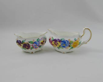 "Vintage Cream and Sugar Set, Royal Stafford, ""Viola"", Bone China"