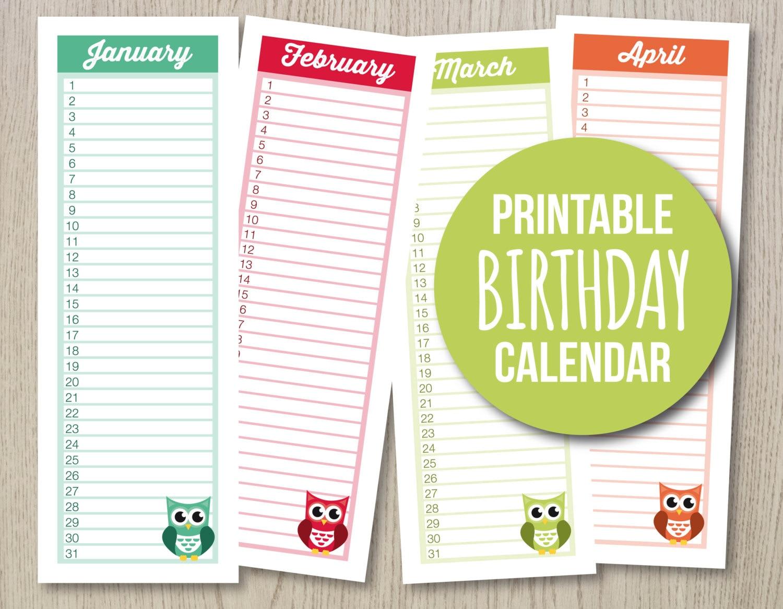 monthly birthday calendar