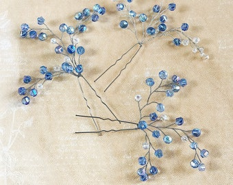 Something Blue Wedding Hair Pins Crystal Light Blue Bridal hair pins Crystal hair accessories Bridesmaid Silver Gift Wife hair piece holiday