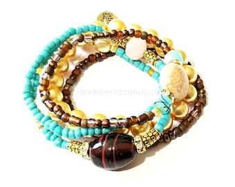 Brown, Gold, Turqoise, Boho Beaded Bracelet Set, Stretchy, Minimalist, Stackable, Custom Handmade Beaded Jewelry