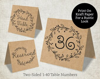 Wedding Table Numbers Template, Rustic Wedding Table Numbers 1-40, Reserved and Head Table Signs Included, Tent Style, 5x5 Folded
