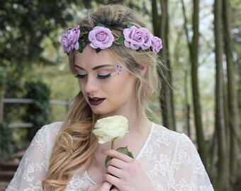 Lavender rose hairband,  summer flower crown, rose headband