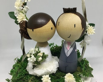 Personalised Wedding Bride and Groom doll with Flower Arch base Cake Toppers - Custom Hand painted wooden dolls.