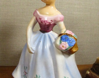 Vintage Ceramic Girl Figurine Planter