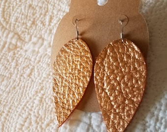 Genuine Leather Leaf Earrings in Metallic Copper