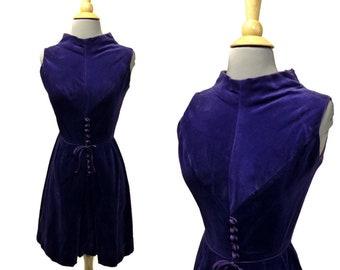 Mod Purple Velveteen Dress Vintage 1960s Size XXS XS ~ Sleeveless Pleated Skirt Sue Brett