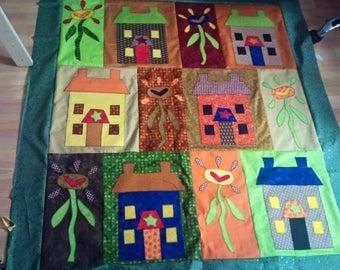 Fun Houses Appliqued Quilt