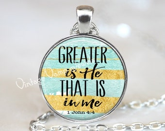BIBLE Verse Necklace Pendant, Bible Scripture Quote Christian Gift Religious Jewelry Bible Jewelry Christianity, Greater Is He That Is In Me