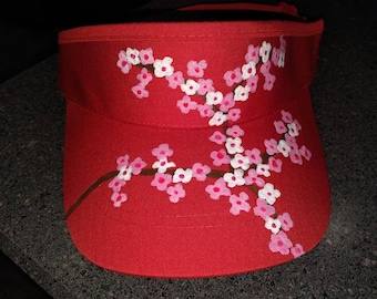 Adult Visor Hand Painted With Cherry Blossoms Sun Hat- New