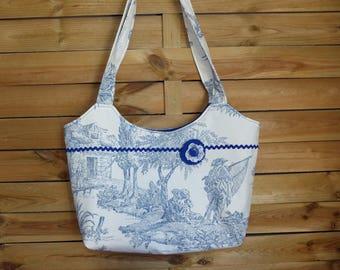 Chic handbag toile de Jouy Ecru