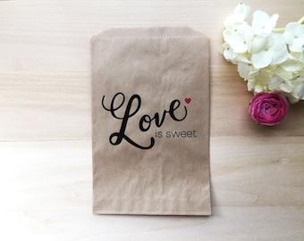 Wedding Favor Bag / Candy Buffet Bags / Wedding Candy Bar Bags / Wedding Favors / Favor Bags / Treat Bags / Custom Favor Bags/ Love is Sweet
