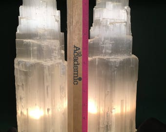"Sale! 12"" Selenite Tower Lamp, Reiki Healing, Reiki Grd, Mineral,Light,Crystal,Protection Crystal,Carved,white Selenite, Selenite Tower Lamp"