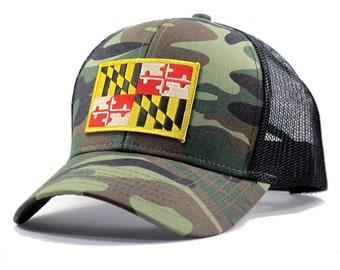 Homeland Tees Maryland Flag Hat - Army Camo Trucker