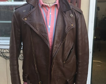 Bates Leather, Highwayman II leather jacket, brown 42