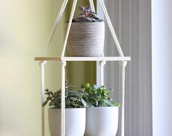 Swing shelf, macrame wall hanging, plank wood, wooden shelf