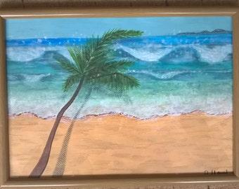 Acrylic 'Tropical Beach'