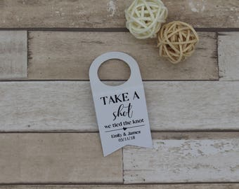 Personalised ALCOHOL Wedding Favour bottle tags for miniature bottles Take a shot new 2018