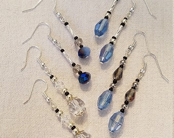 Dazzling glass & acrylic dangling earrings for any occasion or daily wear. Silver/clear/blue/smoky. Lightweight
