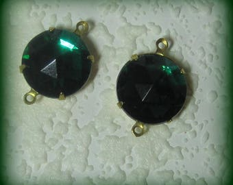 20MM, Crystal, Large Round, Multi, Rivoli, Faceted, Emerald, Rhinestone, Open backed, 4 Prong, Brass Setting, 2 Ring Connector,