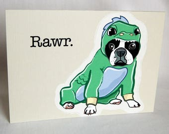Lil Dragon Boston Terrier Greeting Card
