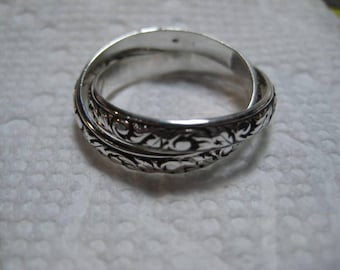 New Leaf ... Rolling  Ring ... 2 Band ... Sterling Silver ... CooL ...