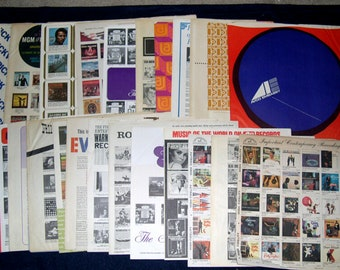 "Lot of 25 Vintage Retro Record Inner Sleeves 12"" Paper Printed LP 33 rpm 1960s-1990s (Lot A)"