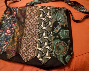 """Upcycled Tie Magnetic Closure Large Purse Diaper Bag - """"Hunter"""""""