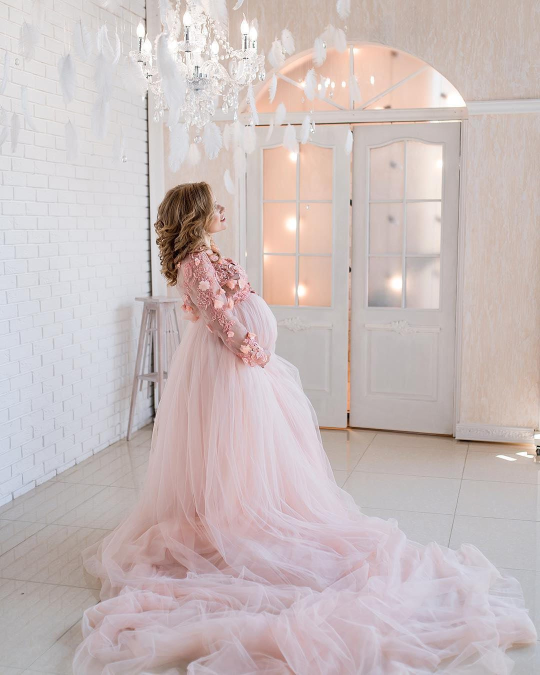 Light pink long lace maternity dress maternity gown zoom ombrellifo Choice Image
