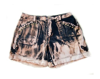 grunge shorts, Acid washed shorts, studded shorts, Black shorts -  size 16,  # 12