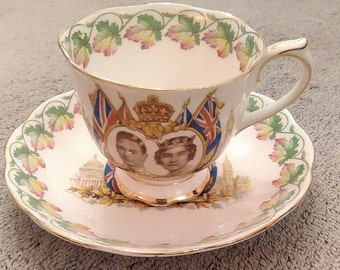 "Royal Albert ""Loyalty"" cup and saucer commemorating the visit of George VI and Queen Elizabeth to Canada and the USA, 1939"