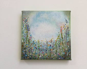 Original Art Mini small Floral Painting, Flower meadow, 4 x 4 inch Canvas, Valentines gift.