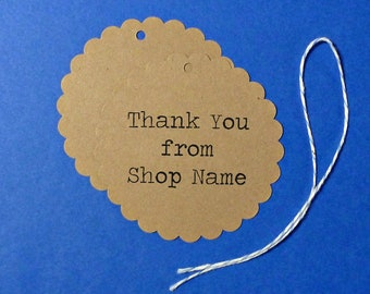 """Scalloped Large Kraft Tags with twine ties . personalized """"Thank You"""" tags . Custom product, gifts or pricing tags . craft supplies . labels"""
