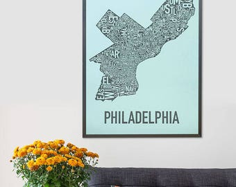 Philadelphia Neighborhood Map Poster or Print, Original Artist of Type City Maps, Philadelphia Typography Map Art, Travel Gift