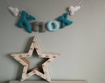 Personalised glitter felt name garland - name bunting - felt name garland - baby gift - baby decor - handmade - made in UK - made to order