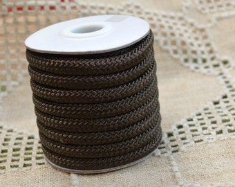 5mm Nylon Cord Dark Brown Braided 15 Foot Spool