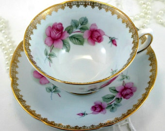 Beautiful, Delicate Pink Rose, Gilded Teacup & Saucer, Fine Bone China made by Royal Grafton in England