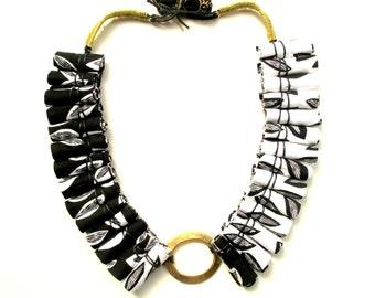 BW statement fabric necklace, elegant asymmetric fabric necklace, spring fabric necklace