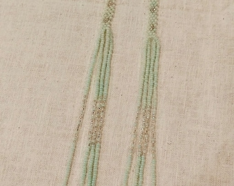 Handcrafted earrings, pale green seafoam and silver shoulder dusters