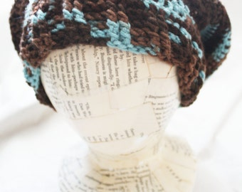 Sky Blue and Chocolate Brown Crochet Slouchy Hat | Winter Hat | Striped Winter Hat | Blue and Brown Hat | Beret | Vegan | Machine Washable