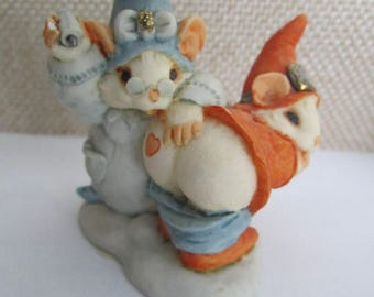 Rare Artefice Ottanta - D. Esposito - adorable charming figurine - little mouse stamping a heart