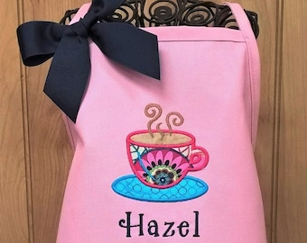 Kids Apron Child Apron Personalized Apron Children Teacup Apron Monogrammed Gift