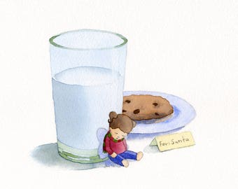 ORIGINAL Milk and Cookie - Watercolor Painting