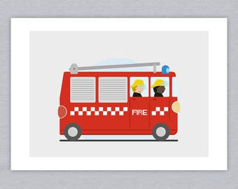 Emergency services vehicles illustrated prints - set of three A5 prints