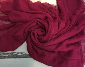 "100% Silk Chiffon, Crimson Red, sheer with flow and very soft, 40"" wide, 5 yard piece, made in Italy"