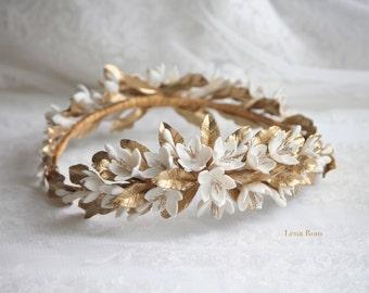 Jasmine gold wreath. Bridal wreath. Boho bridal wreath. Wedding headpiece. Gold headpiece. Floral bridal headpiece. Style 606