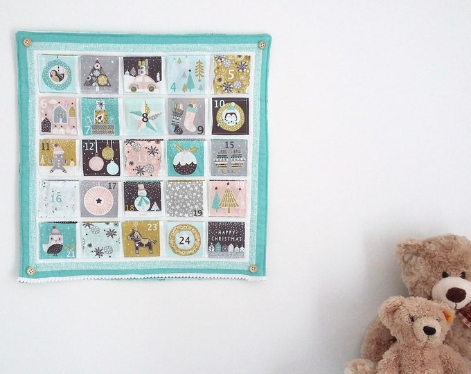 READY TO POST Merry Little Minty Christmas quilted Advent Calendar