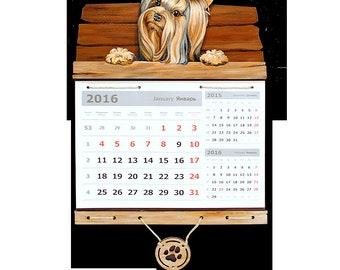 Yorkshire terrier Gift for boss woman Dog calendar Wall calendar Hand painted wood Calendar gift Dog silhouette Office decor woman а3к25