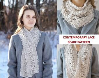 Contemporary Lace Scarf Crochet pattern, elegant lace scarf, long scarf, crochet lace scarf pattern, scarf pattern