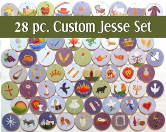 Advent Custom Jesse Tree Ornaments - Multi-colored - Christian Advent Calendar leading to Christmas, choose your own